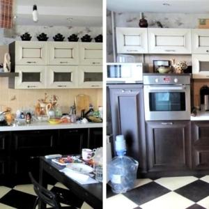 Уборка кухни в квартире до и после